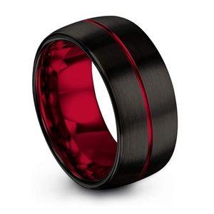 Crimson Allure Tungsten Carbide Wedding Band Ring